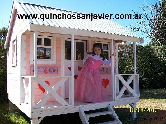 Casitas de madera para ni os casita infantil modelo americana - La casita de madera ...